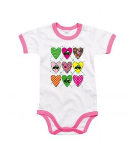 TS Baby Romper Love Tractor Pink