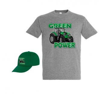 TS Kinder T-shirt Green Power met Cap