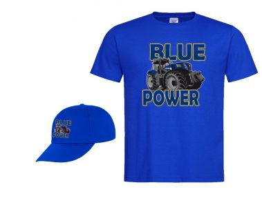 TS Kinder T-shirt Blue Power met Cap