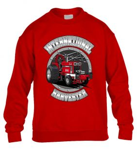 Internationel Harverster Tractor Sweater Crew Volw rood