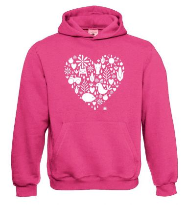 TS Sweater Hooded  IH heart  pink