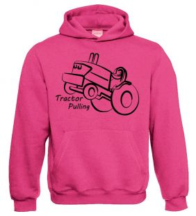 TS Sweater Hooded Tractor Pulling Pink  volw.